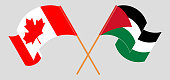Crossed and waving flags of Palestine and Canada. Vector illustration