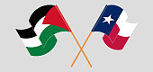 Crossed and waving flags of Palestine and the State of Texas. Vector illustration