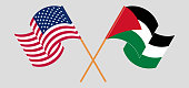 Crossed and waving flags of Palestine and the USA. Vector illustration