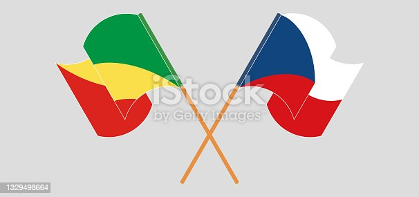 istock Crossed and waving flags of Republic of the Congo and Czech Republic 1329498664