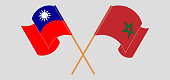 Crossed and waving flags of Taiwan and Morocco. Vector illustration