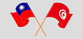 Crossed and waving flags of Taiwan and Tunisia. Vector illustration
