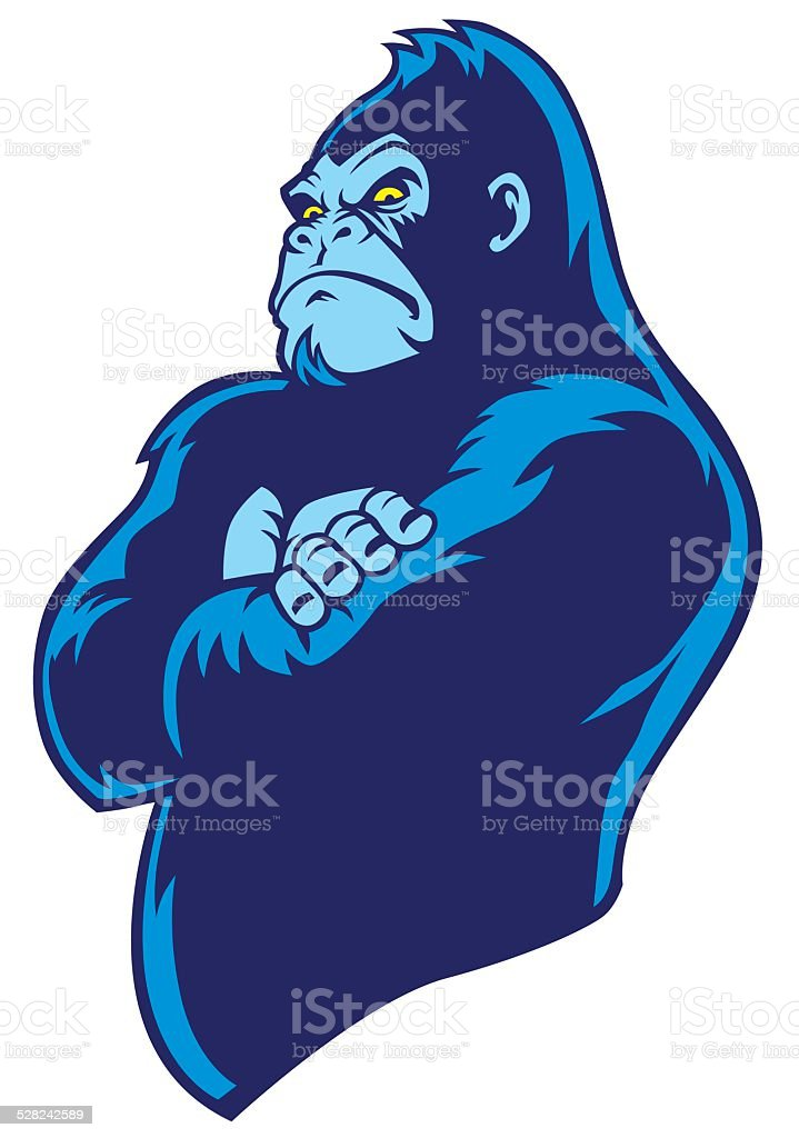 crossed arm gorilla vector art illustration