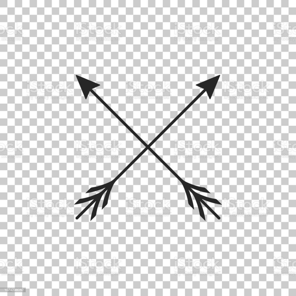 Gekruiste pijlen pictogram geïsoleerd op transparante achtergrond. Platte ontwerp. Vectorillustratie - Royalty-free Aanwijsstok vectorkunst