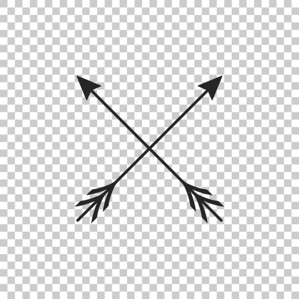 crossed arrows icon isolated on transparent background. flat design. vector illustration - crossing stock illustrations, clip art, cartoons, & icons