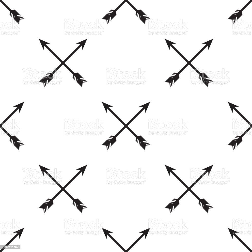 Crossed arrows seamless pattern vector art illustration