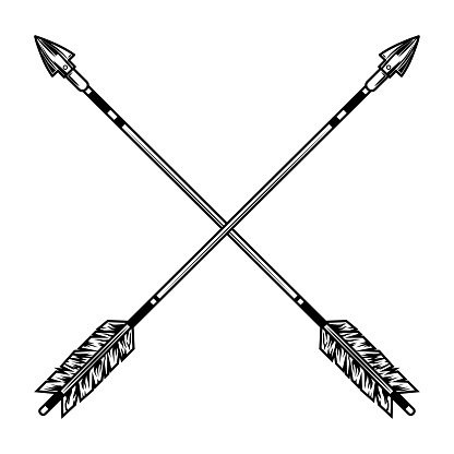 Crossed arrows vector illustration. Medieval weapon, war or battle accessory. History or fight concept for tattoo or archery club emblem templates