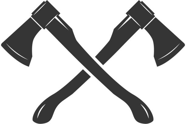 Crossed axes isolated on white background. Vector illustration vector art illustration