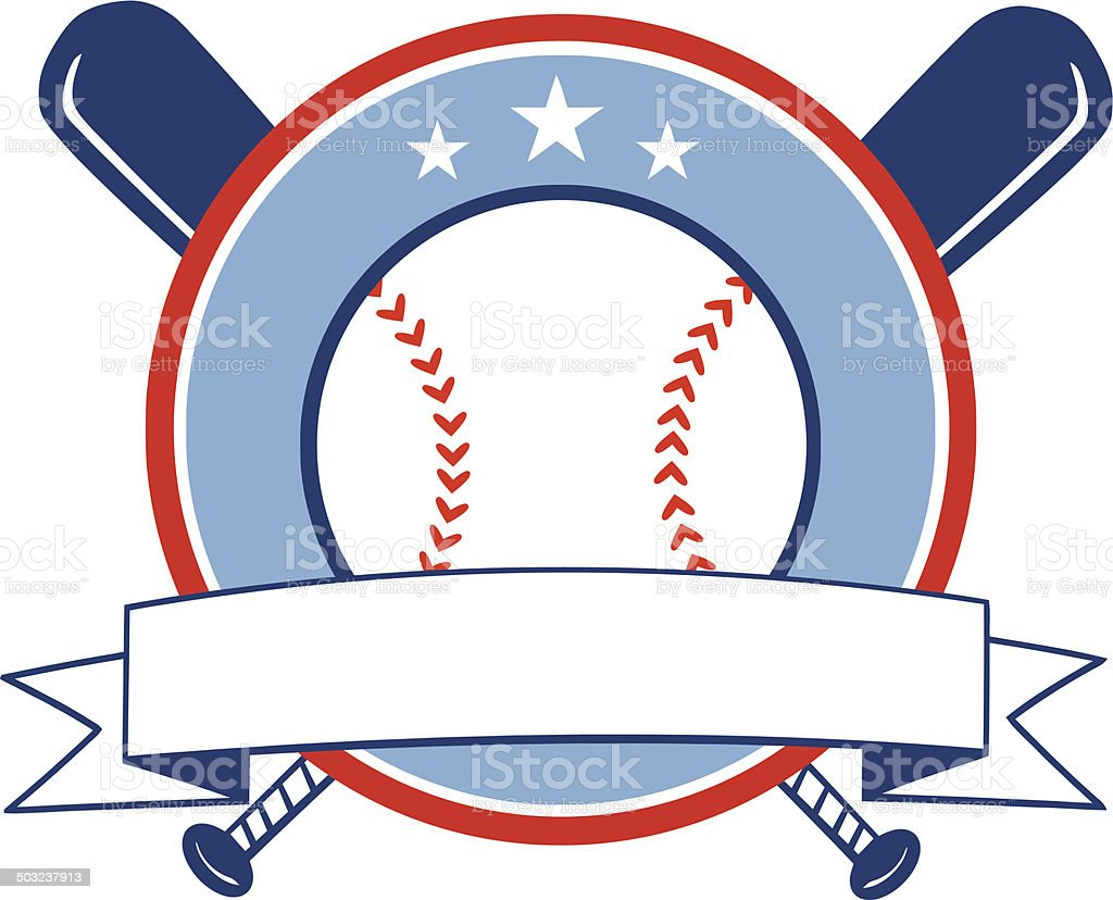 crossed baseball bats with ball logo with banner stock vector art rh istockphoto com Big Barrel Baseball Bats Baseball Bat Template