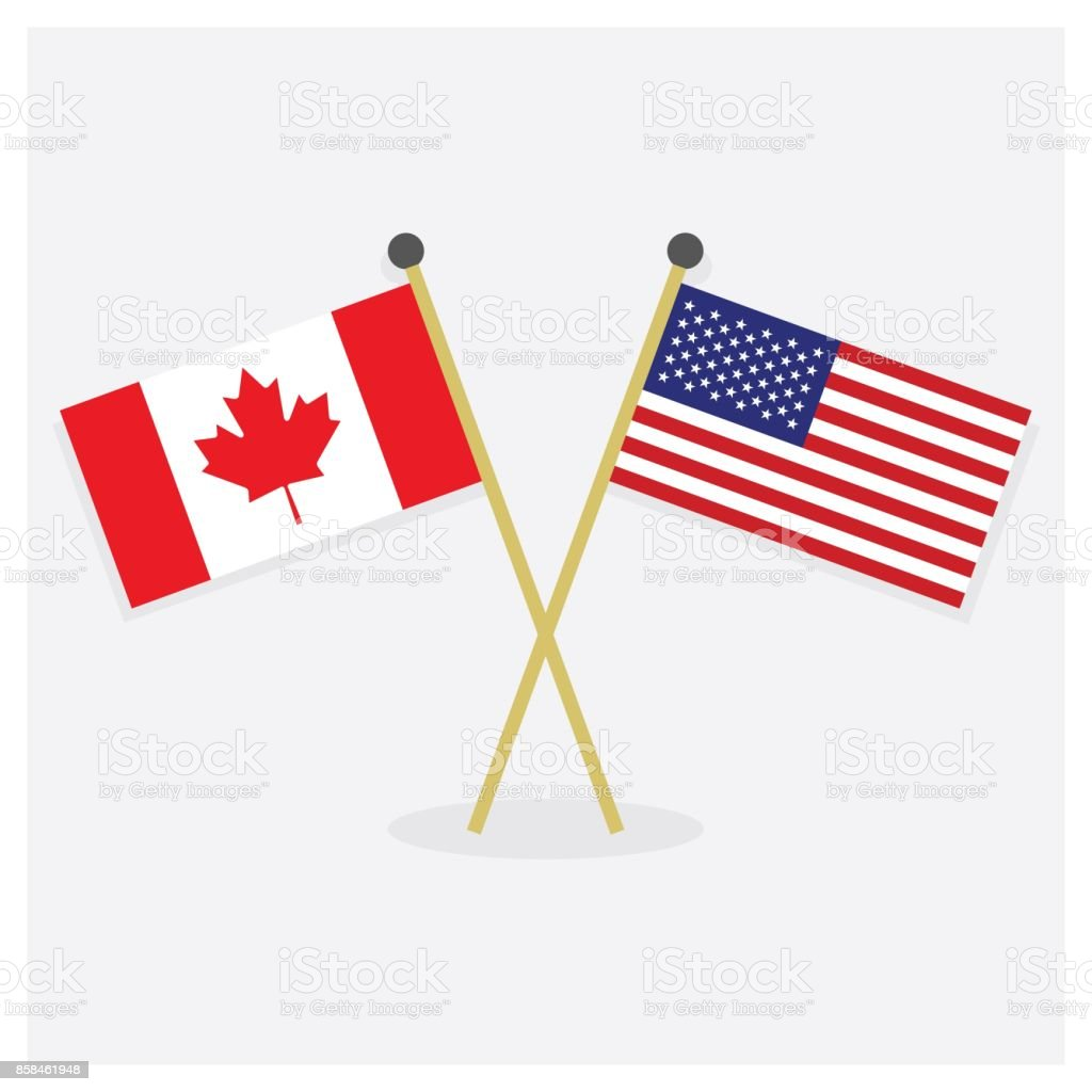 Crossed canada flag and american flag icons with shadow on off white crossed canada flag and american flag icons with shadow on off white background royalty free publicscrutiny Image collections