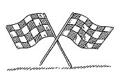 Crossed Checkered Flags Drawing