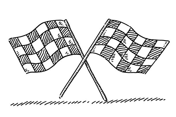 Crossed Checkered Flags Drawing Hand-drawn vector drawing of two Crossed Checkered Flags. Black-and-White sketch on a transparent background (.eps-file). Included files are EPS (v10) and Hi-Res JPG. motor sport stock illustrations