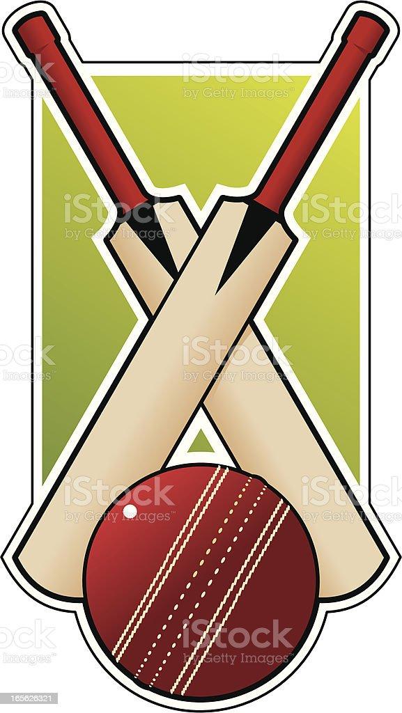 Crossed cricket bats vector art illustration