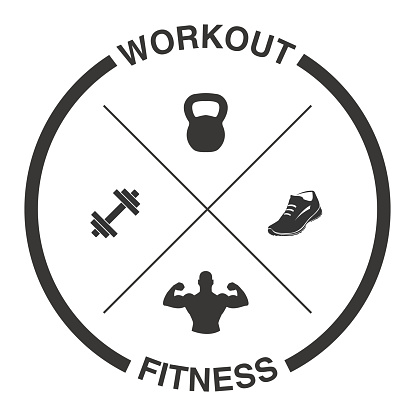 Crossed Dumbells, Kettlebell, Shoe and Muscles with Tagline Workout and Fitness