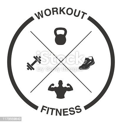 Vector of Crossed Dumbells, Kettlebell, Shoe and Muscles with Tagline Workout and Fitness