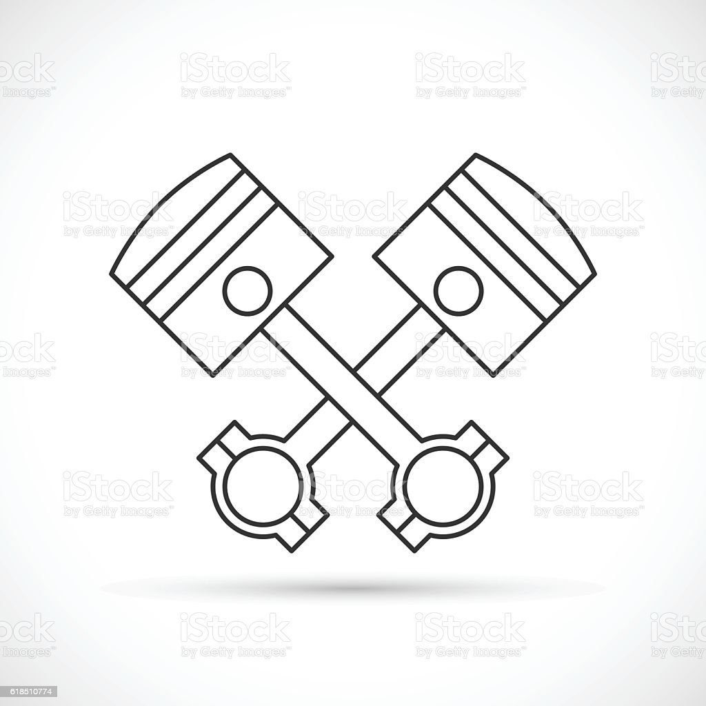 Crossed Engine Pistons Outline Icon Stock Illustration - Download Image Now  - iStockiStock