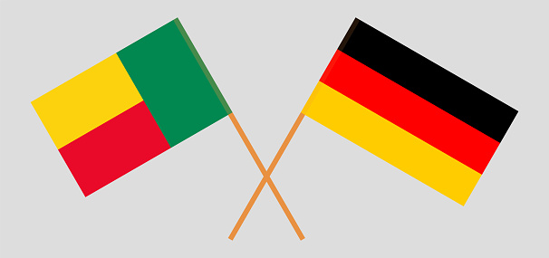 Crossed flags of Benin and Germany