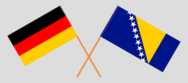 Crossed flags of Bosnia and Herzegovina and Germany
