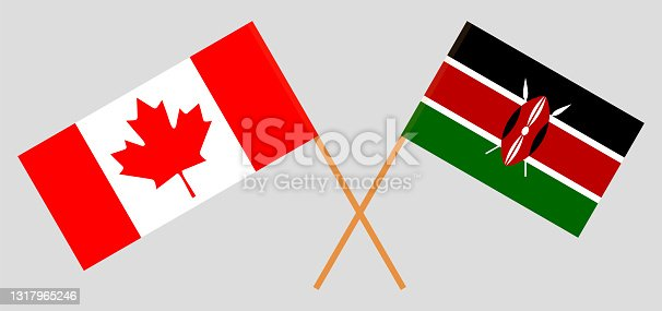 istock Crossed flags of Canada and Kenya. Official colors. Correct proportion 1317965246