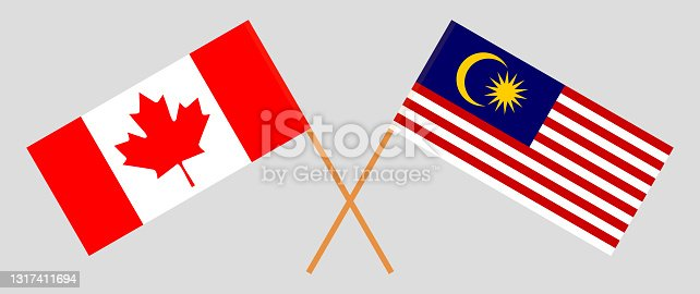 istock Crossed flags of Canada and Malaysia. Official colors. Correct proportion 1317411694