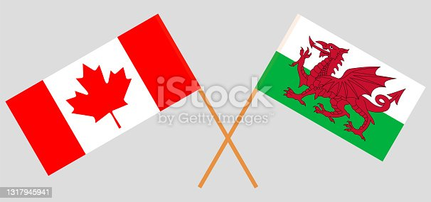 istock Crossed flags of Canada and Wales. Official colors. Correct proportion 1317945941