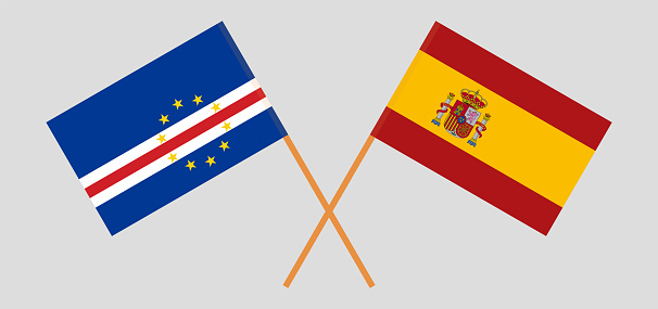 Crossed flags of Cape Verde and Spain. Official colors. Correct proportion