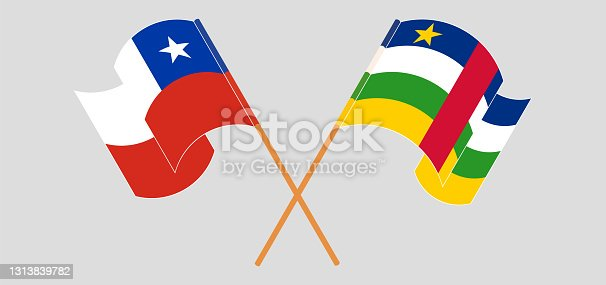 istock Crossed flags of Chile and Central African Republic. Official colors. Correct proportion 1313839782