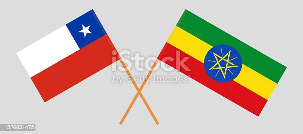 istock Crossed flags of Chile and Ethiopia. Official colors. Correct proportion 1326631475