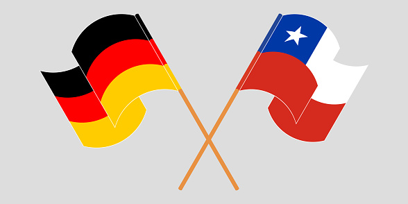 Crossed flags of Chile and Germany