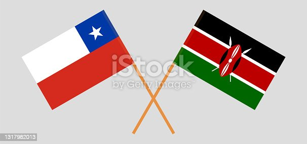 istock Crossed flags of Chile and Kenya. Official colors. Correct proportion 1317982013