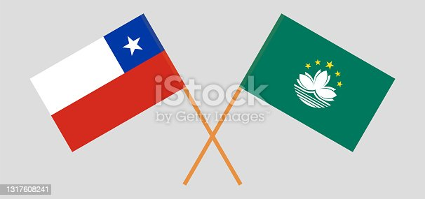 istock Crossed flags of Chile and Macau. Official colors. Correct proportion 1317608241