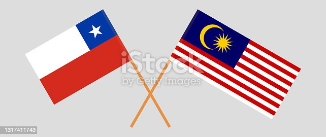 istock Crossed flags of Chile and Malaysia. Official colors. Correct proportion 1317411743