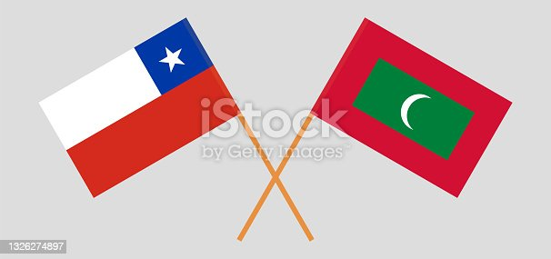 istock Crossed flags of Chile and Maldives. Official colors. Correct proportion 1326274897