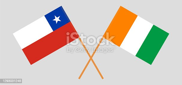 istock Crossed flags of Chile and Republic of Ivory Coast 1293031245