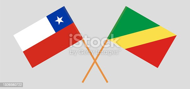 istock Crossed flags of Chile and Republic of the Congo. Official colors. Correct proportion 1326580722