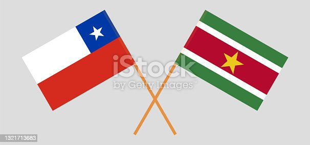 istock Crossed flags of Chile and Suriname. Official colors. Correct proportion 1321713683