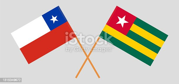 istock Crossed flags of Chile and Togo. Official colors. Correct proportion 1315349672