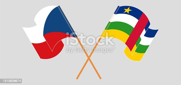 istock Crossed flags of Czech Republic and Central African Republic. Official colors. Correct proportion 1313839674
