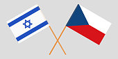 Crossed  flags of Czech Republic and Israel. Official colors. Correct proportion. Vector