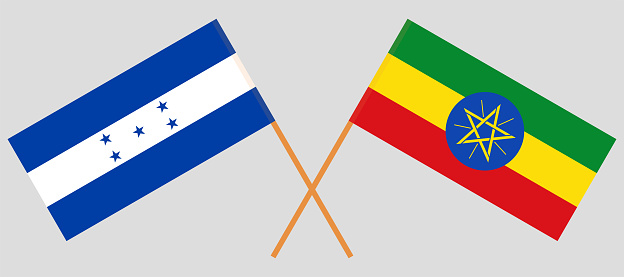 Crossed flags of Ethiopia and Honduras. Official colors. Correct proportion