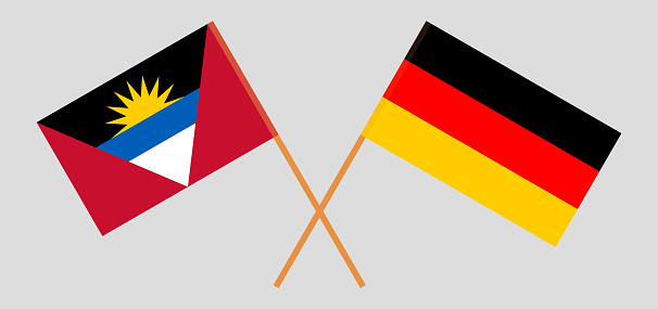 Crossed flags of Germany and Antigua and Barbuda