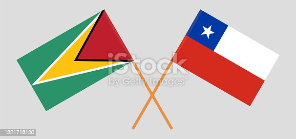 istock Crossed flags of Guyana and Chile. Official colors. Correct proportion 1321718130