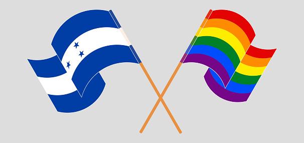Crossed flags of Honduras and LGBTQ