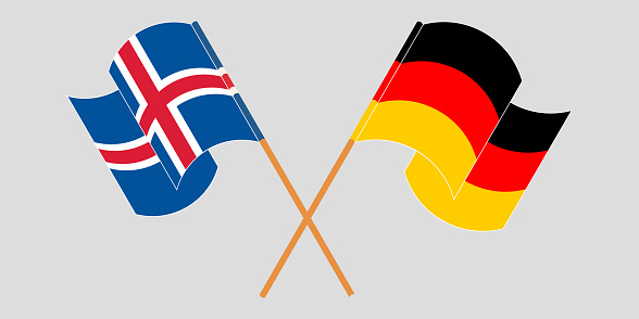 Crossed flags of Iceland and Germany
