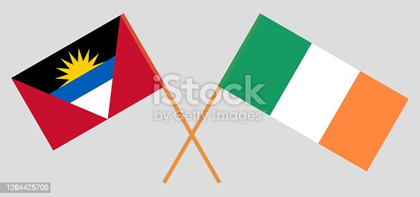 Crossed flags of Ireland and Antigua and Barbuda. Official colors. Correct proportion. Vector illustration
