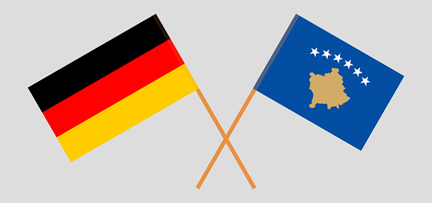 Crossed flags of Kosovo and Germany