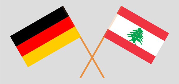 Crossed flags of Lebanon and Germany