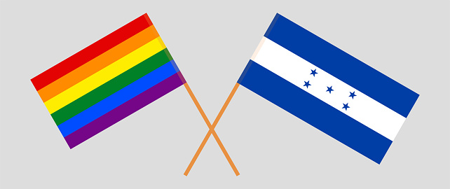 Crossed flags of LGBTQ and Honduras