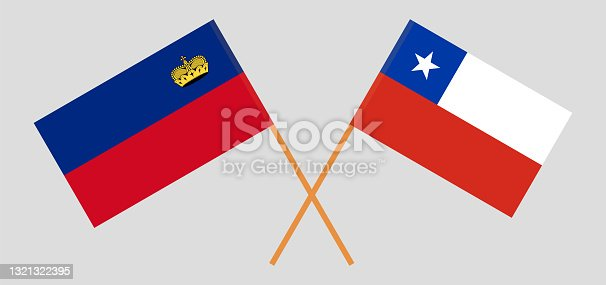 istock Crossed flags of Liechtenstein and Chile. Official colors. Correct proportion 1321322395