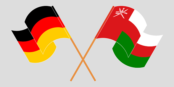 Crossed flags of Oman and Germany